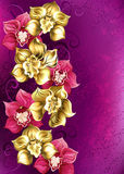 Golden orchid on a pink background. Artistically painted yellow and pink orchid on pink textural background. Design of orchids. Floral design Stock Image