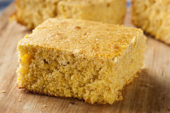 Golden Organic Homemade Cornbread Royalty Free Stock Images