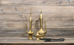 Golden oriental decoration islamic rosary beads lantern Royalty Free Stock Photo