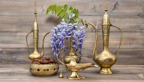 Golden oriental decorations Ramadan kareem arabic jug Royalty Free Stock Photos
