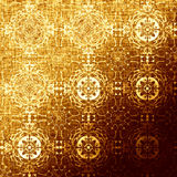 Golden oriental pattern, holiday folk traditional elements. Boho-chic gold festive texture for wallpapers, advertisement, page fill, book covers etc. Christmas Royalty Free Stock Image