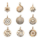 Golden original jewelry stock image