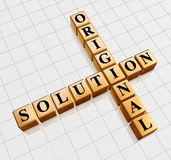 Golden original solution like crossword. 3d golden cubes with black letters like crossword with text - original solution Royalty Free Stock Image