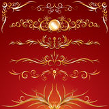 Golden Ornament. Al elements. Use to create your own frame or border composition Stock Images