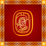 Golden ornament of American Indians, Aztec and Maya Royalty Free Stock Photo