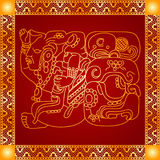Golden ornament of American Indians, Aztec and Maya Stock Photography
