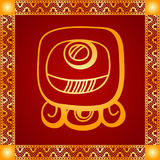 Golden ornament of American Indians, Aztec and Maya Royalty Free Stock Photography