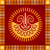Golden ornament of American Indians, Aztec and Maya Royalty Free Stock Images