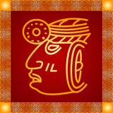 Golden ornament of American Indians, Aztec and Maya Stock Image