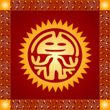 Golden ornament of American Indians, Aztec and Maya. With gold frame Royalty Free Stock Image