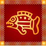 Golden ornament of American Indians, Aztec and Maya. With gold frame Royalty Free Stock Photos