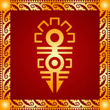 Golden ornament of American Indians, Aztec and Maya Stock Photo