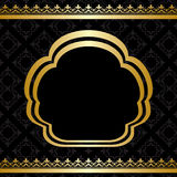 Golden ornament on vector black background with frame Stock Images