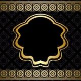 Golden vector ornament on black background Stock Images