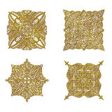 Golden Ornament Collection. Detailed golden ornaments isolated over white background Stock Photo