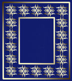 Golden ornament frame on a blue background. Vintage premium design of pattern in luxury style for book or photoalbum cover, photo frame Royalty Free Stock Photography