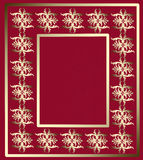Golden ornament frame on a red background. Vintage premium design of pattern in luxury style for book or photoalbum cover, photo frame Stock Photo