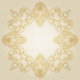 Golden ornament frame. In Victorian style on light seamless background. Element for design. It can be used for decorating of wedding invitations, greeting cards Stock Photography