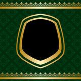 Golden vector ornament on green ornamental background Stock Photography