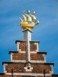 Golden ornament on landmark building in Antwerp Stock Photography