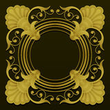 Golden ornamental border on dark background Royalty Free Stock Photo