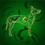 Golden Ornamental Dog Great Dane Silhouette on Green. Great dane dog ornamented with gold Royalty Free Stock Photo