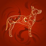 Golden Ornamental Dog Great Dane Silhouette on Red Stock Images