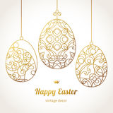 Golden ornamental eggs for your Easter design. Royalty Free Stock Images