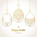 Golden ornamental eggs for your Easter design. Stock Images