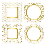 Golden ornamental vector frames with gradient Stock Images