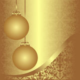 Golden ornamental xmas Background with balls. Royalty Free Stock Photos