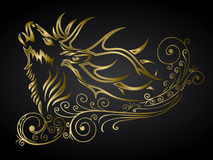 Golden ornamented deer. Vector illustration of deer in ornamented style Royalty Free Stock Photos