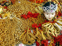 Golden Ornaments. Golden artifical ornaments used during festivals for decoration of idols Stock Photography