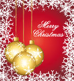 Golden ornaments on a red festive greeting card. Merry christmas theme Stock Images
