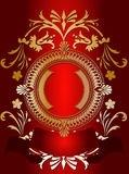 Golden Ornate Banner On Red Royalty Free Stock Photos