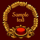 Golden ornate decoration on a red background. Golden ornate decoration on a dark red background Stock Photo