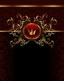 Golden ornate frame with crown Stock Photos