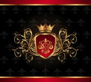 Golden ornate frame with crown Stock Photo