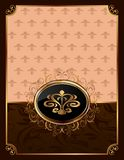 Golden ornate frame with emblem Royalty Free Stock Photo