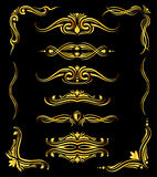 Golden ornate vector borders and corner elements over black. Template of abstract decor elements illustration Royalty Free Stock Images