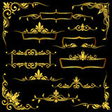 Golden ornate vector frames, borders and corner elements set Royalty Free Stock Image
