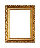 Golden ornately picture frame. Isolated on white Stock Images