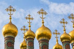 Golden Orthodox crosses and domes of the Church of the Nativity, Moscow, Russia. stock photo