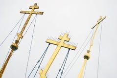 Golden orthodox crosses Stock Photos