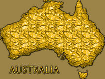Golden outline of Australia. An illustrated map or outline of the country of Australia with a fancy, golden abstract design Royalty Free Stock Photos