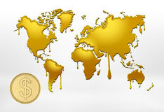 Golden outlines of world map with smudges and big coin. 3d rendering of golden outlines of world map with smudges and big coin with the dollar sign on white Stock Photo