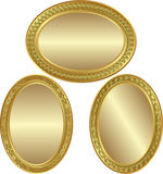 Golden oval background. With ornaments and copy space Stock Photography