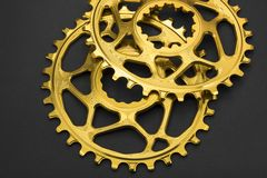 Golden oval bicycle chainring Royalty Free Stock Images