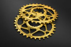 Golden oval bicycle chainring Royalty Free Stock Photography