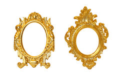Golden oval frames Royalty Free Stock Photos